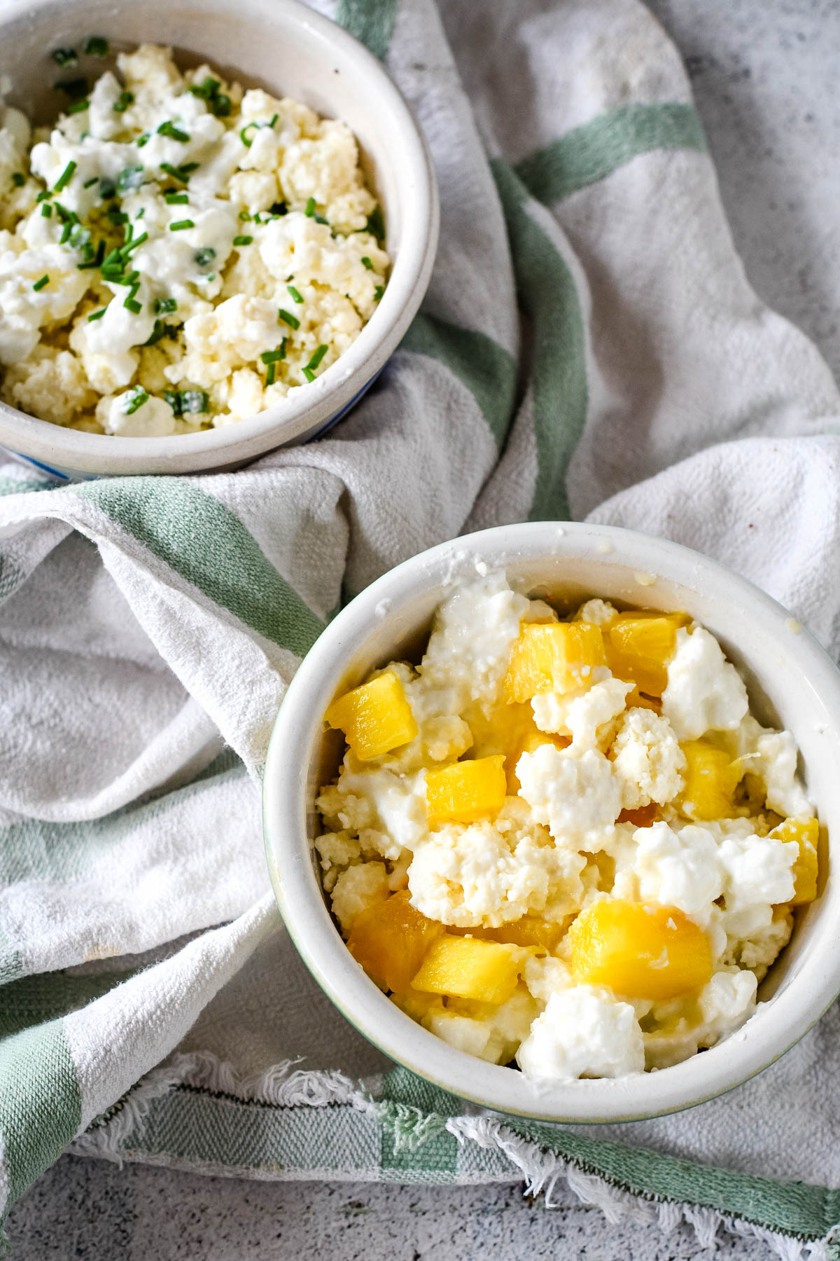 cottage cheese with pineapple and also with chives