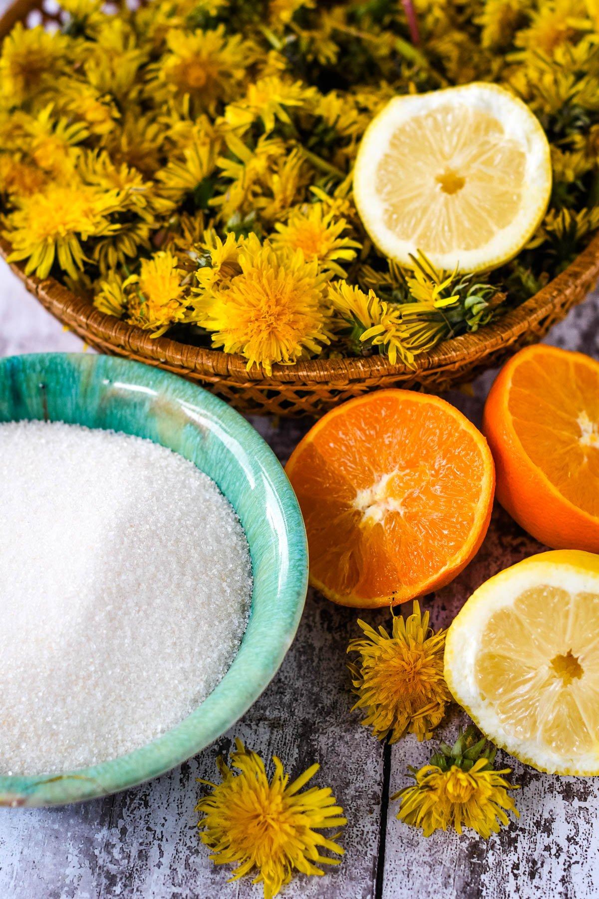 ingredients; flowers, sugar, orange and lemon