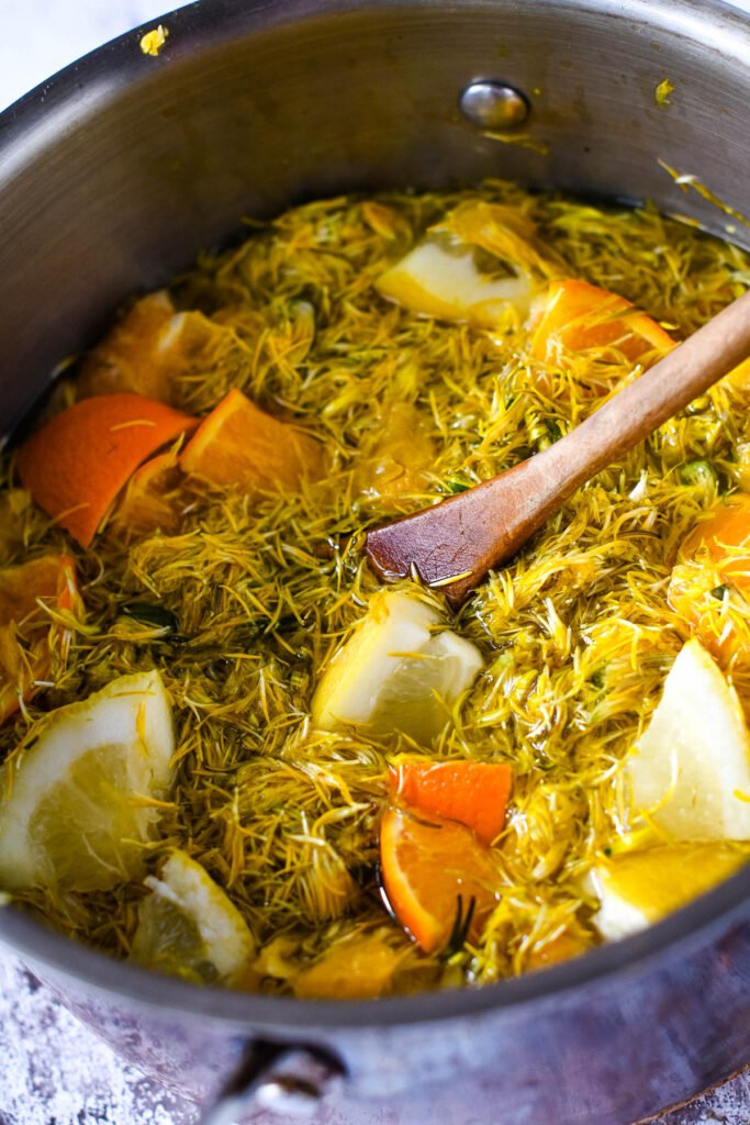 boil the flowers with lemon and orange