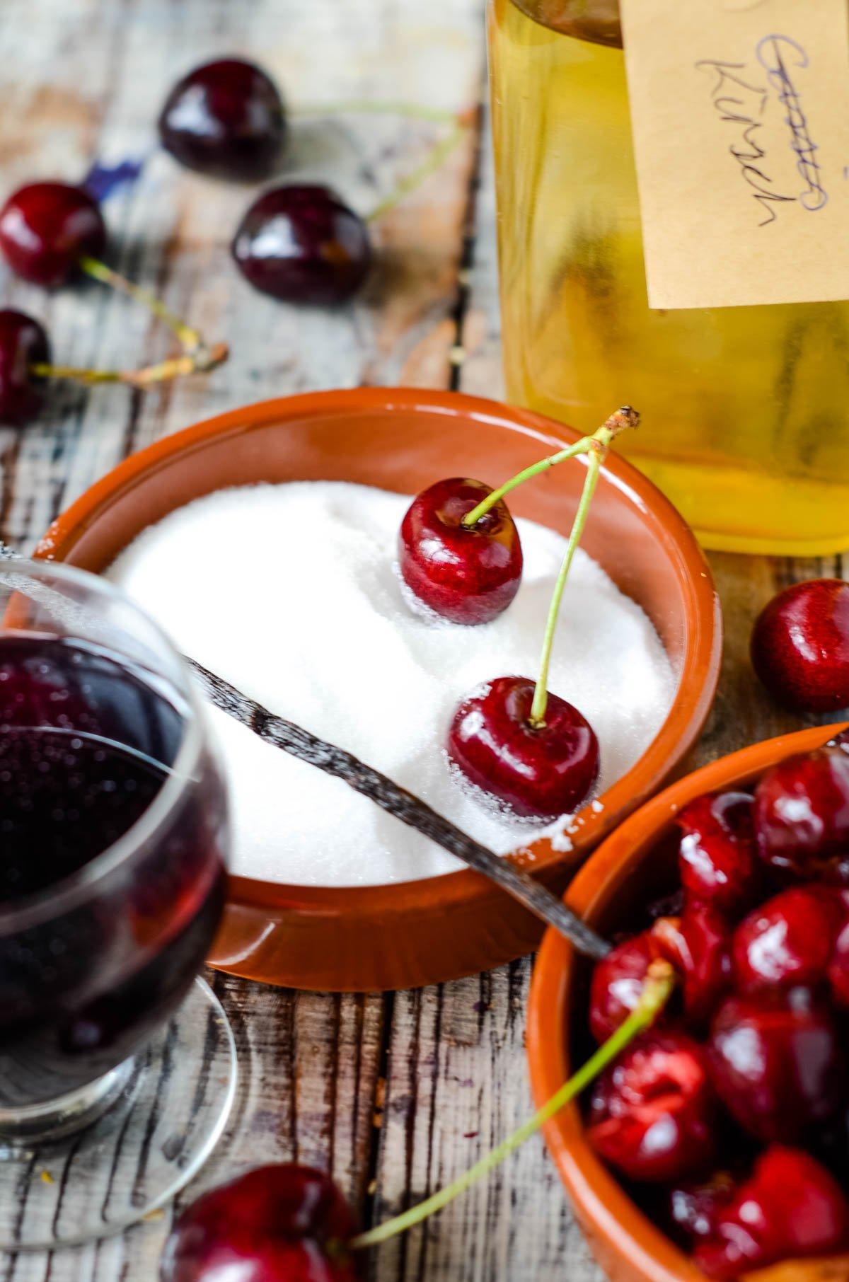ingredients - cherries, red wine, kirsch, sugar and vanilla