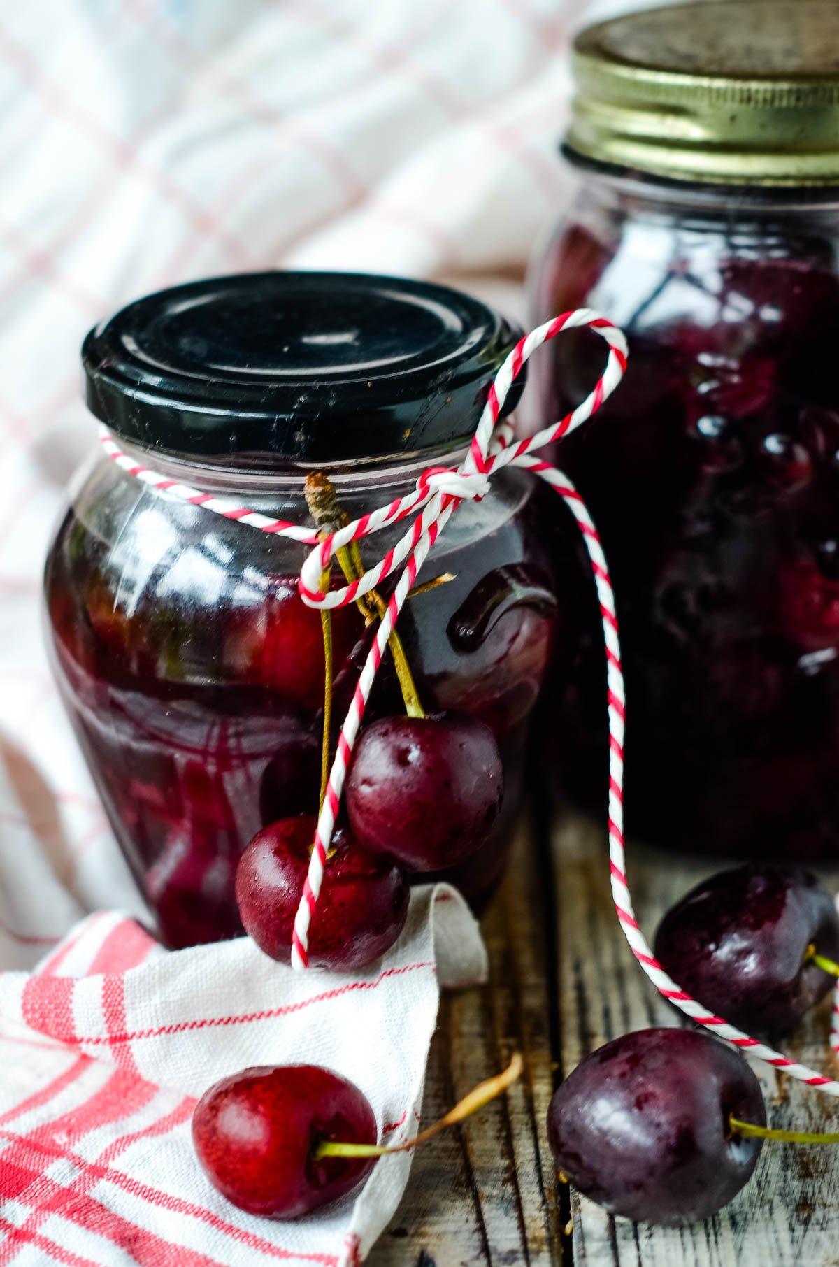 jars of preserved cherries