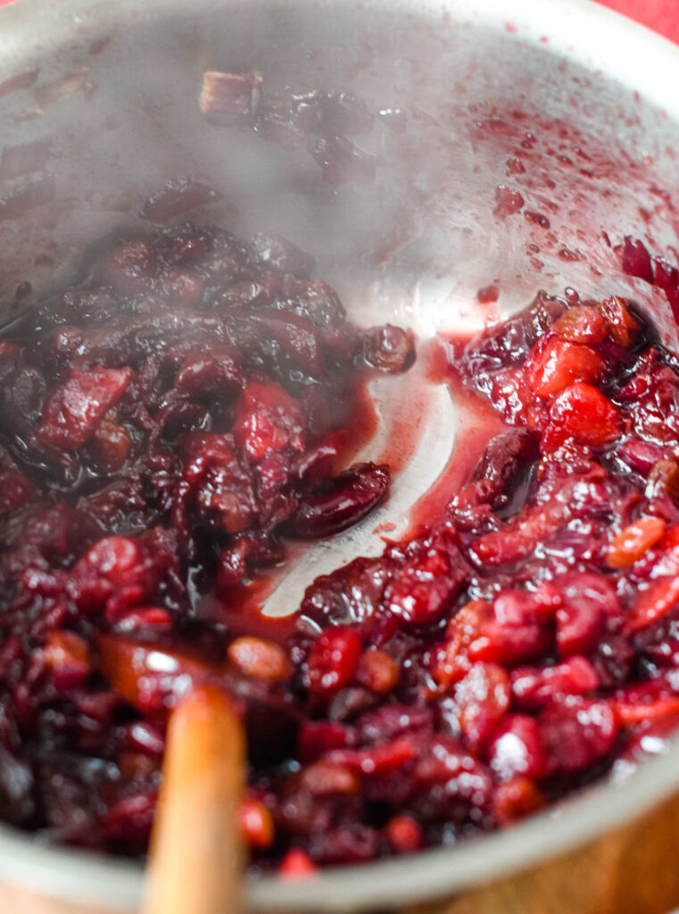 the finished cherry chutney in pan