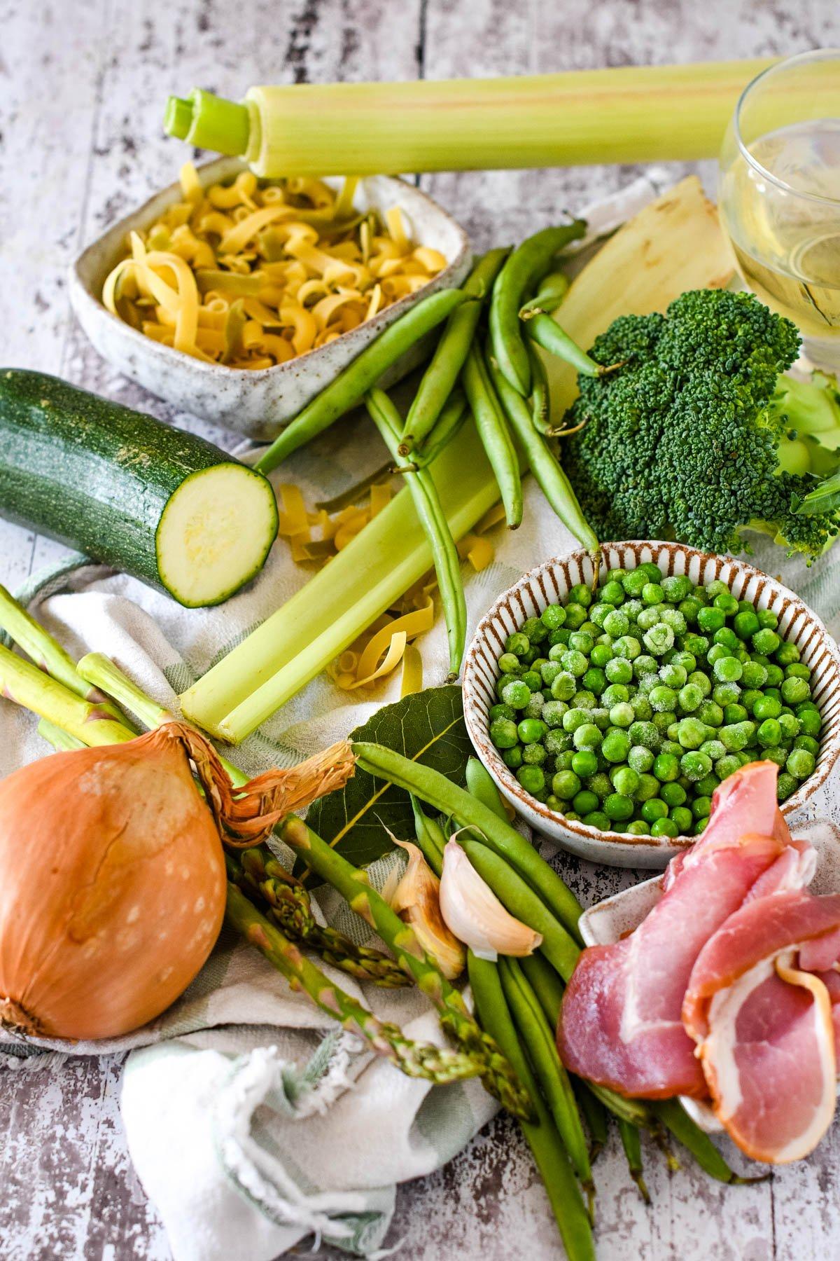 ingredients - green veggies, bacon, pasta