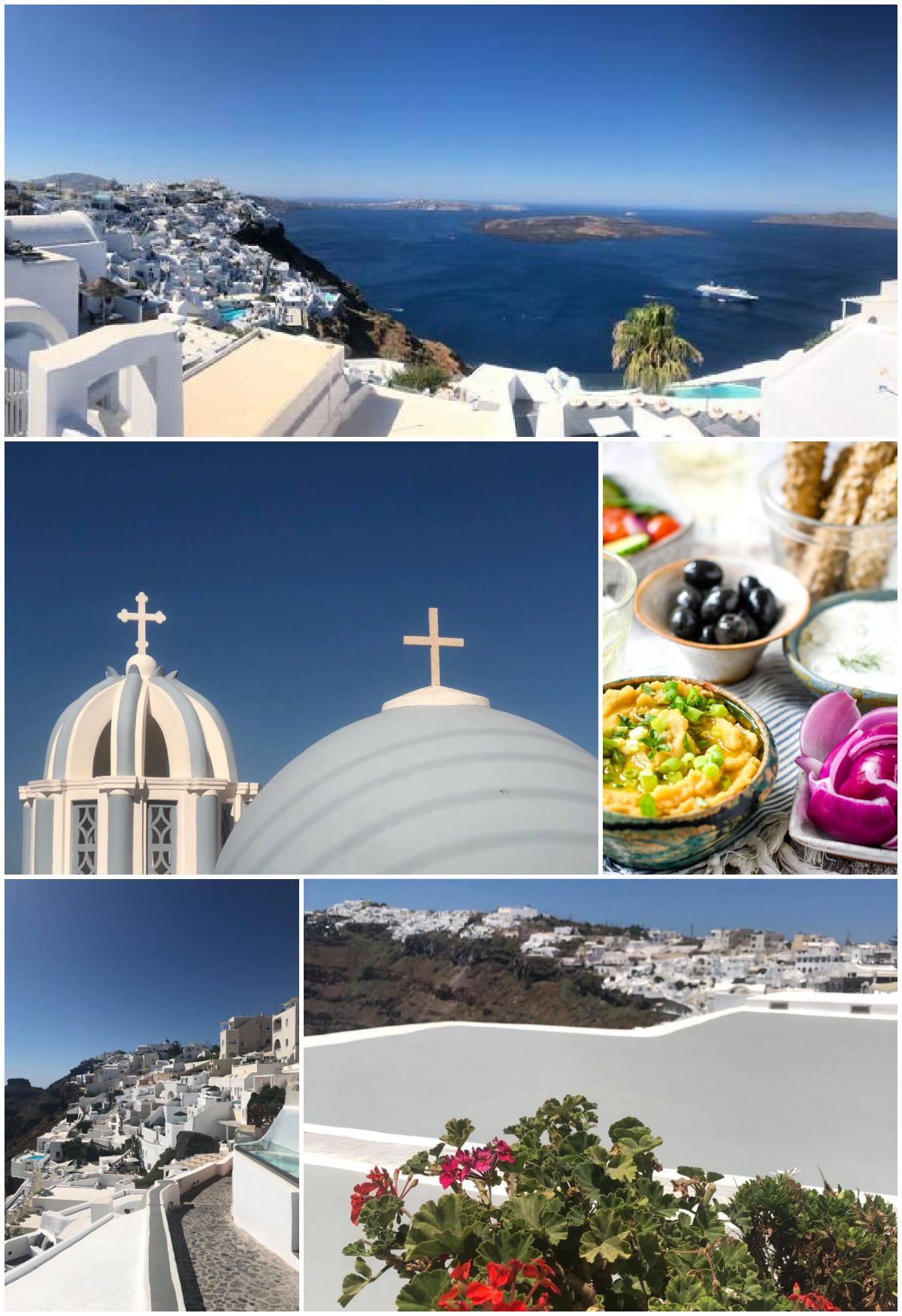 photos of Santorini and one of the fava as part of a mezze