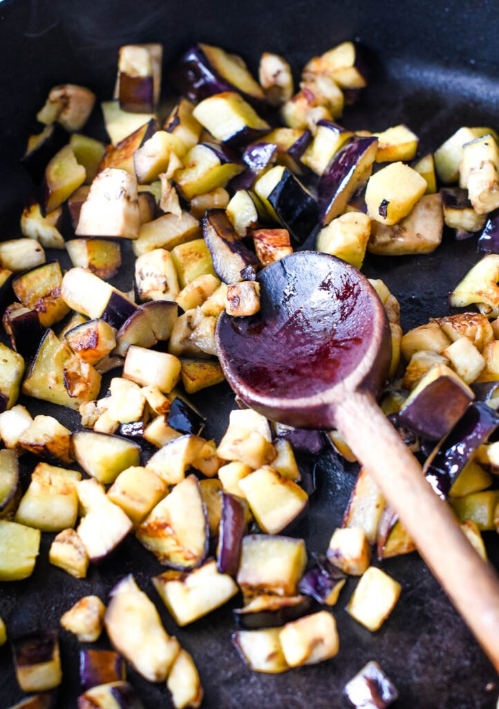 frying the aubergine on its own