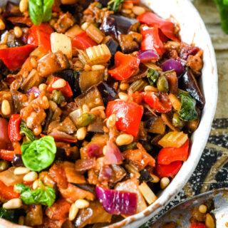Sicilian caponata in bowl