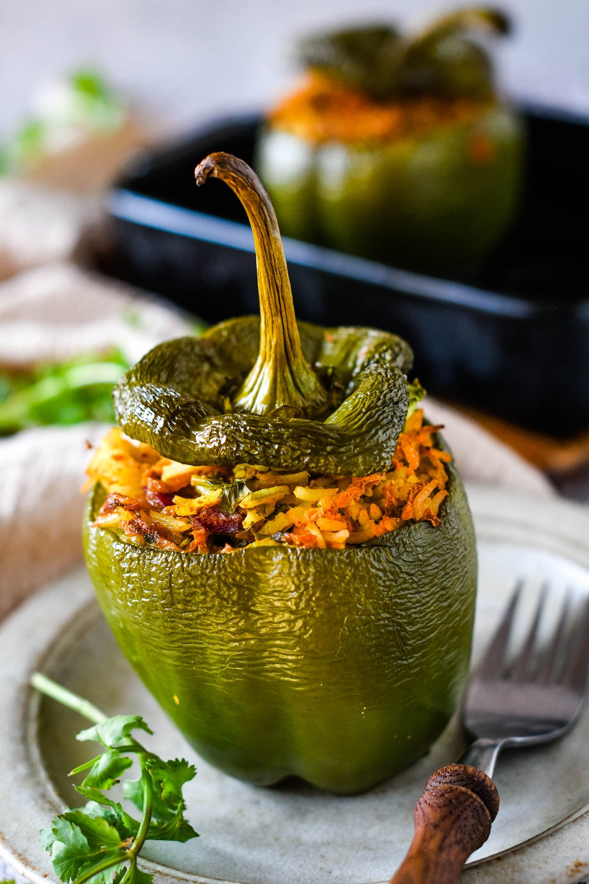 vegetarian curry stuffed pepper on plate
