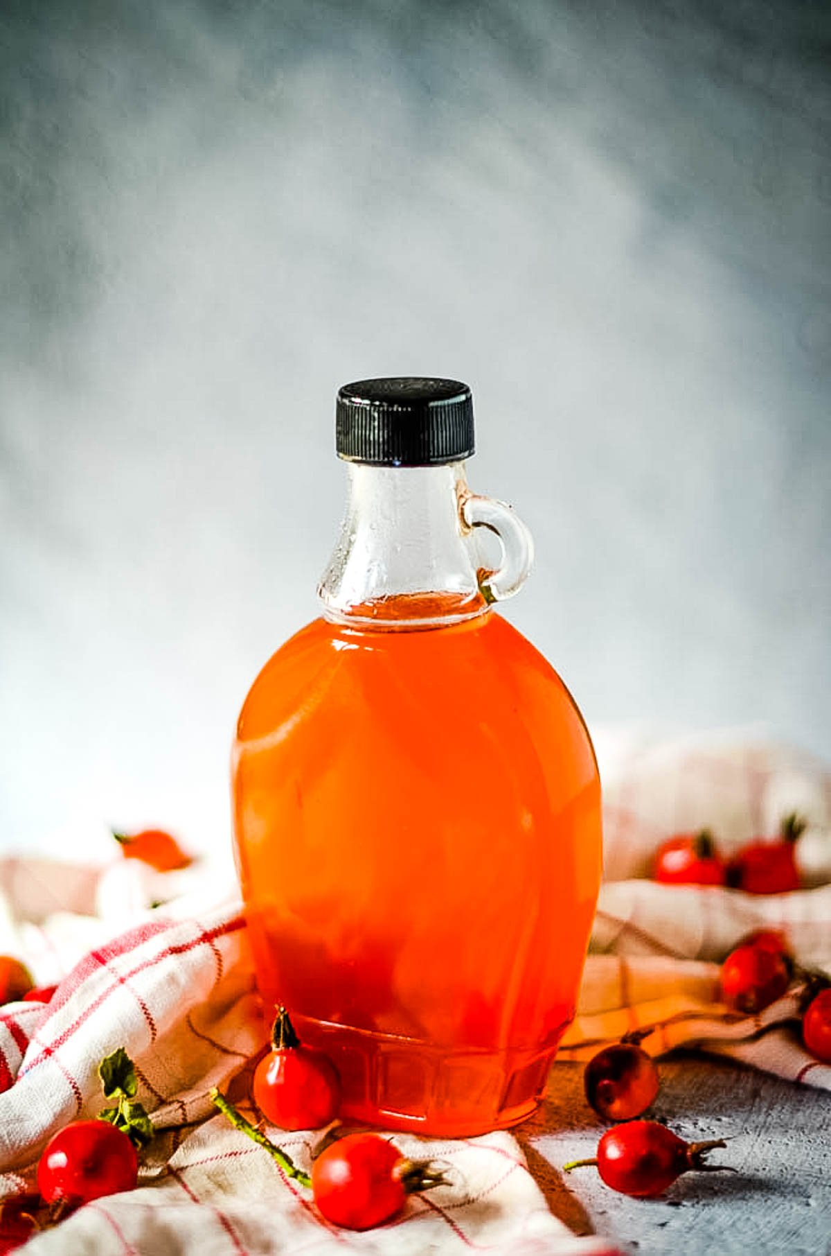 rosehip syrup in bottle
