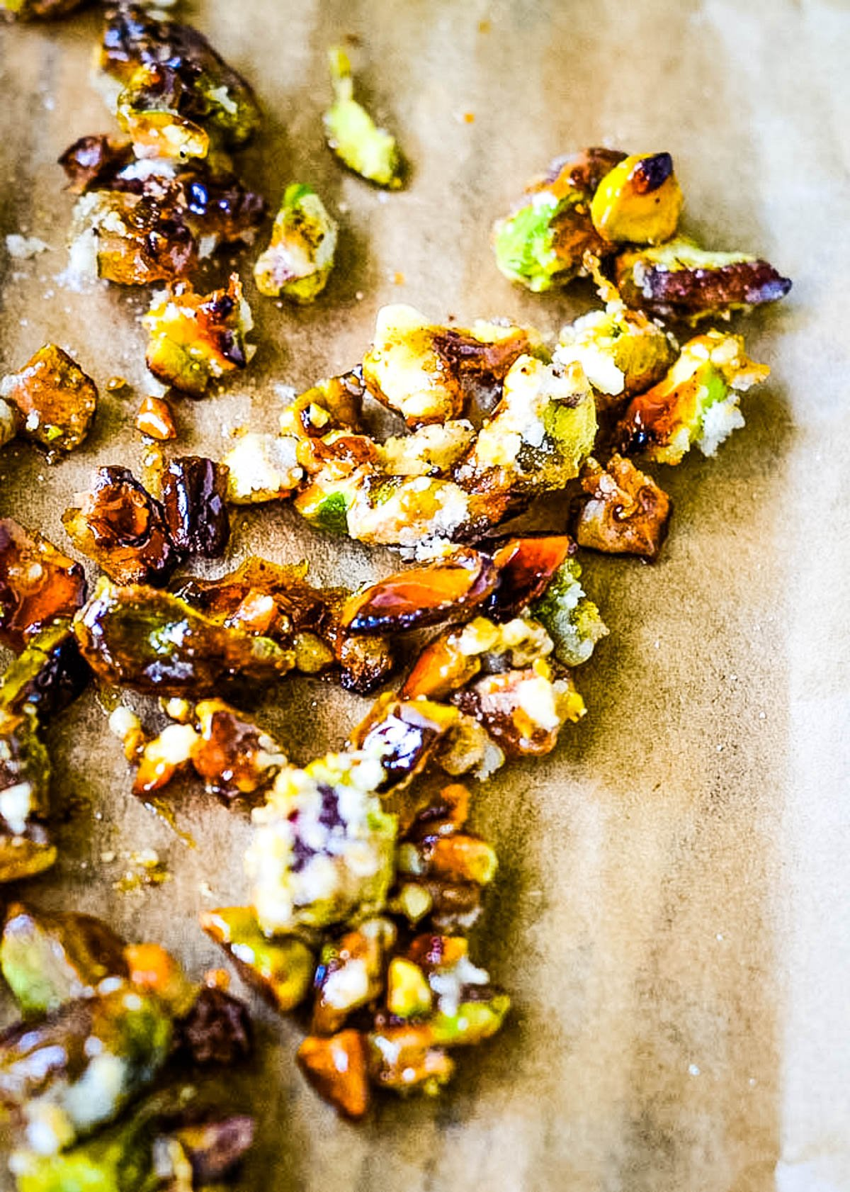 candied pistachios on baking paper