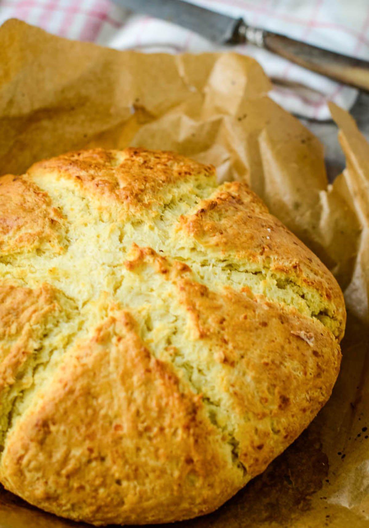 loaf of baked parmesan soda bread