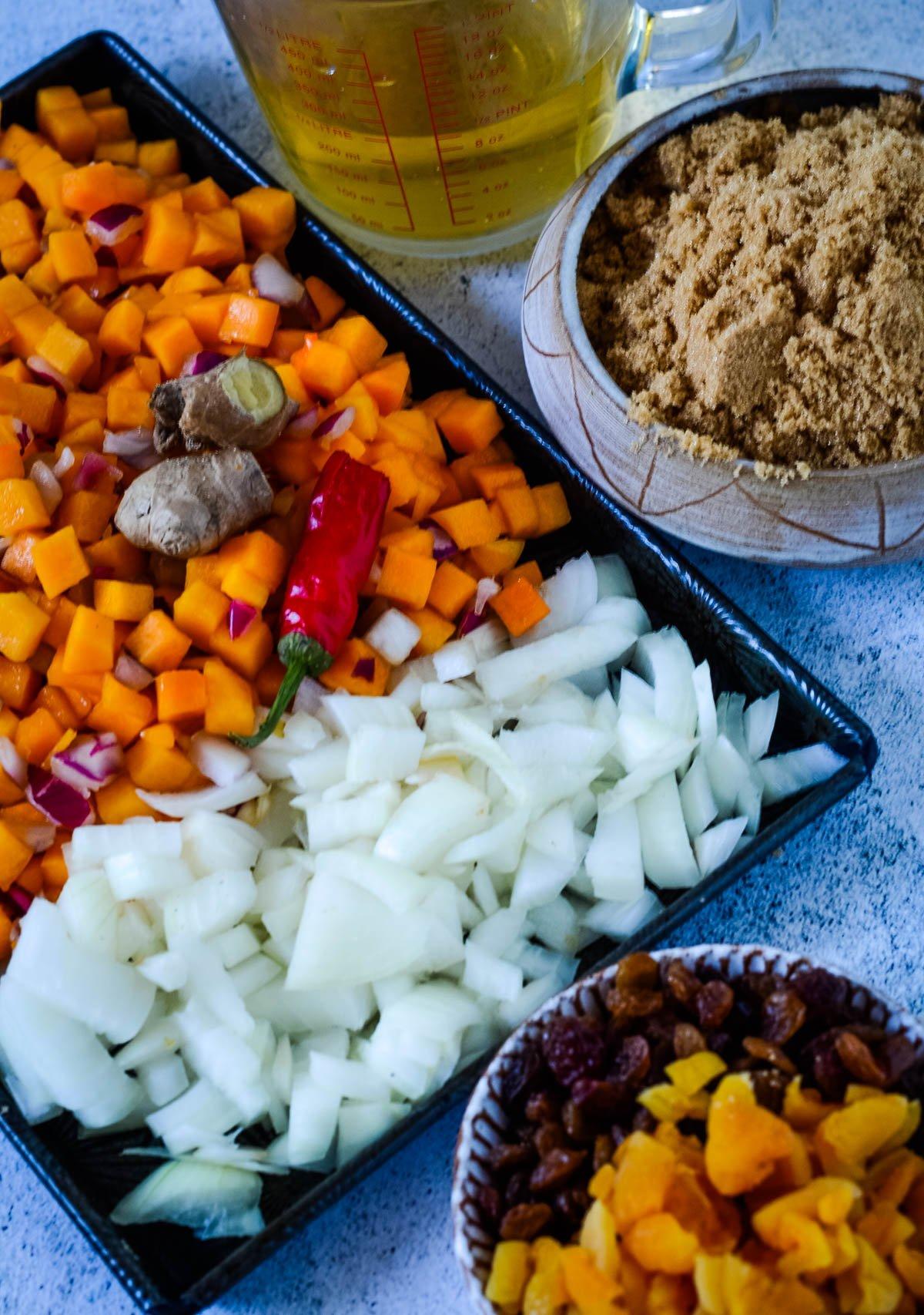 chopped ingredients for pumpkin chutney