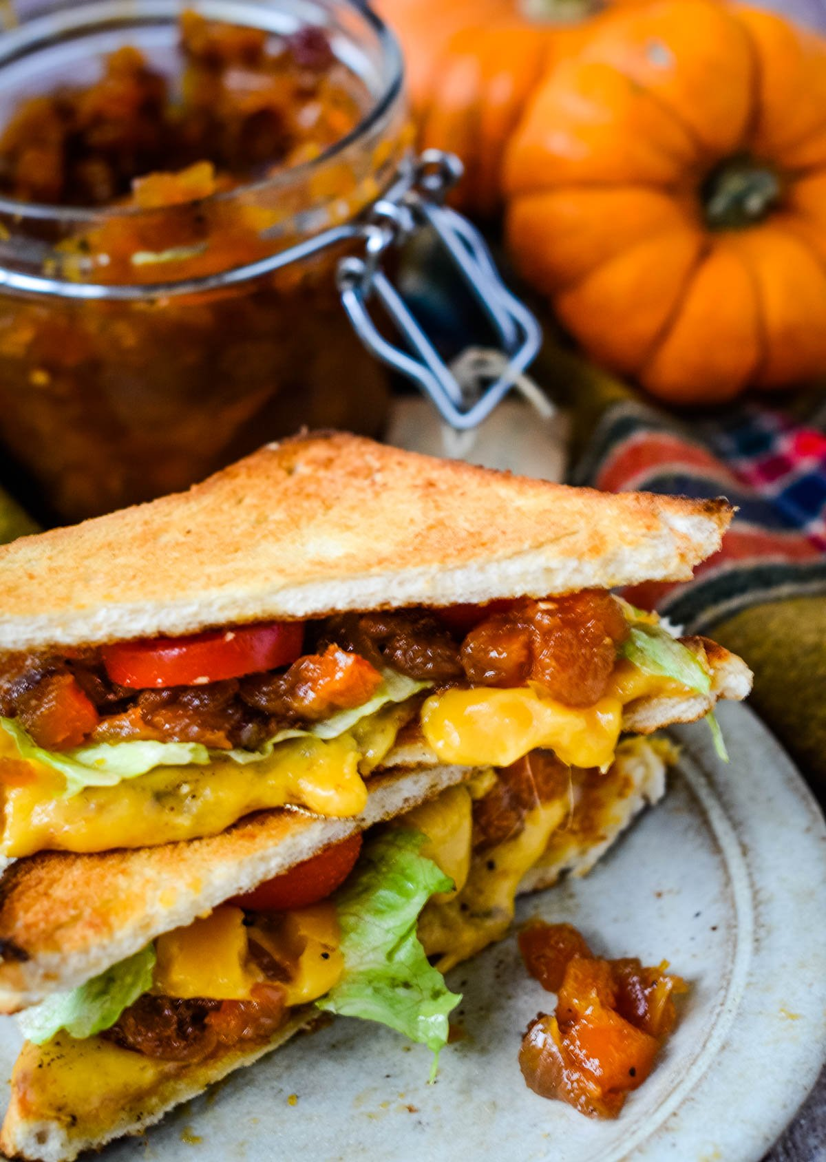 chutney in a toasted sandwich