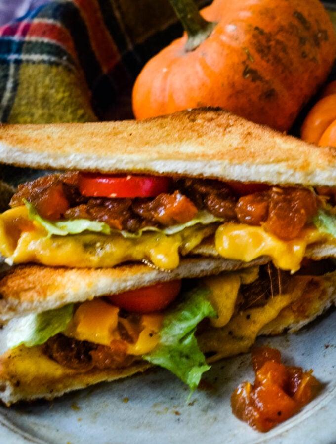 pumpkin chutney in sandwich